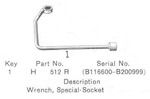 Part number H512R, the flywheel wrench