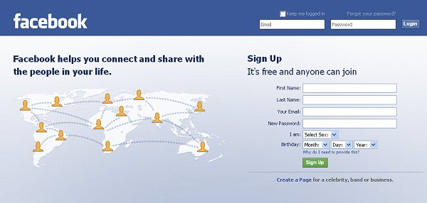This is what the facebook homepage looks like